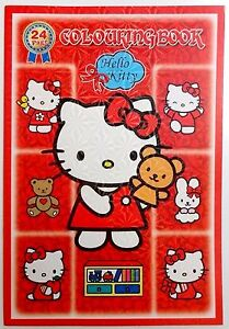 Large Hello Kitty Red Cartoon Colouring Book Drawing Paper Back Gift For Girls