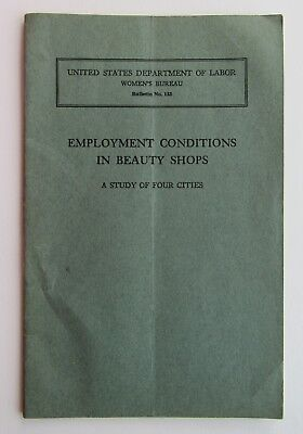 Rare Booklet  Employment Conditions / Beauty Shops c35 Discrimination /Wh/ Negro