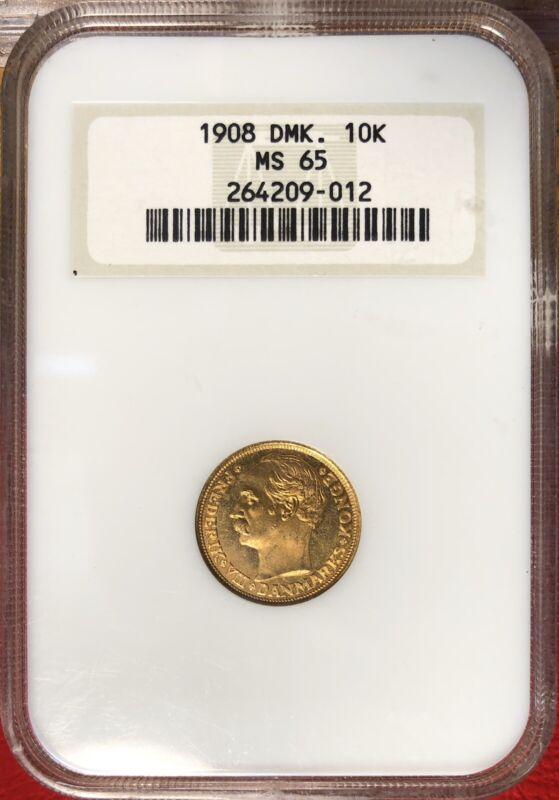 1908 Denmark 10 Kroner Gold Coin NGC MS 65 #J40