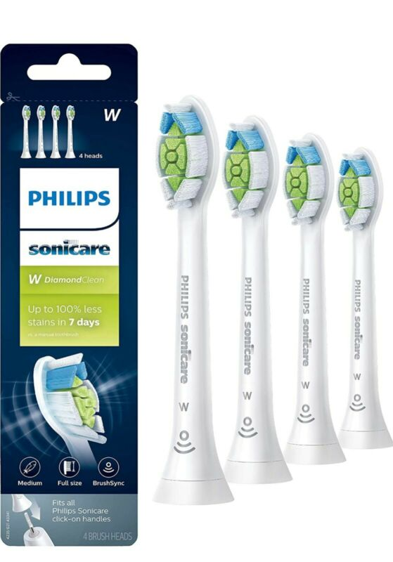 4x PCS Philips Sonicare Diamond Clean Toothbrush Heads HX6064/65 White New USA