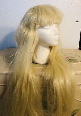 Long Blonde Wig Bangs Halloween Barbie Paris Hilton Bo Peep Costume Women