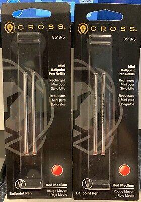 2 Cross Mini Ball Point Pen Refills Medium Point, Red Ink, 2 Pack 8518-5 Mini Ball Pen Refill