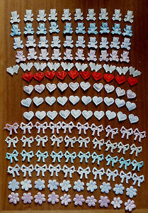15 SATIN TEDDIES / HEARTS / BUTTERFLIES / FLOWERS / BOWS embellishments/sewing