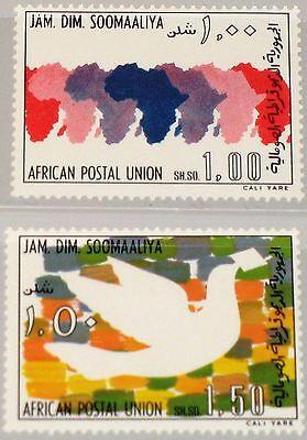 SOMALIA 1975 219-20 416-17 APU Afrikan. Postunion Brieftaube Carrier Pigeon MNH