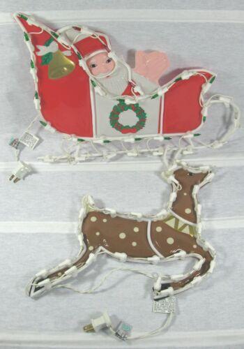 2 Pc Vintage Light Up Santa Sleigh & Reindeer Hanging Plastic Window Decoration