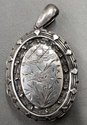 Antique Victorian Silver Bird Locket Birmingham 1882. Signed