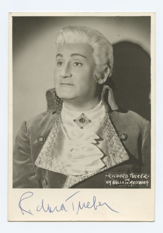 Richard TUCKER (Opera): Signed Postcard Photograph in Un Ballo in Maschera