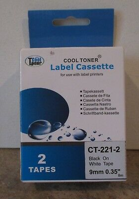 Cool Toner Label Cassette 2 Tapes CT-221-2 Black on White Tape - Cool Labels