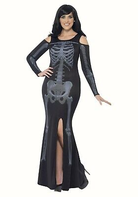 Curves Skeleton Womens Halloween fancy dress costume Black Outfit Plus Size - Plus Size Womens Skeleton Costume
