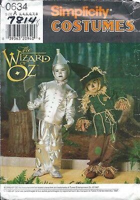Simplicity 7814 HALLOWEEN COSTUME Pattern WIZARD OF OZ Tin Man Scarecrow ~ 3-8](Wizard Of Oz Halloween Costume Patterns)