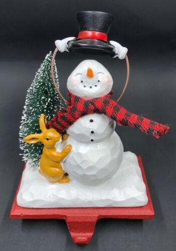 Collectible Snowman Christmas Stocking Hanger Top Hat & Rabbit Cast Iron & Resin
