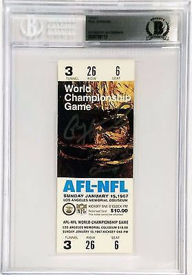 Packers Paul Hornung Signed Replica Super Bowl I Ticket BAS Slabbed 0009788112