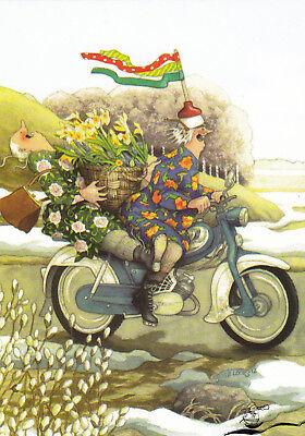 Kunstkarte: Inge Löök - Frauen auf dem Motorrad / Nr. 34