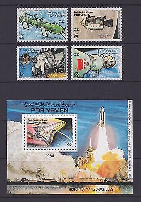 PDR YEMEN (South)—1984 Space Research set & SS—Michel 356-59 + Blk 23, MNH-VF