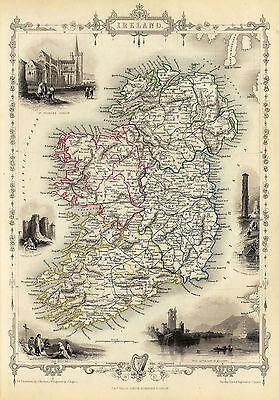 1851 Map Ireland Famous Sites Irish Harp Clover Vintage History Wall Art Poster