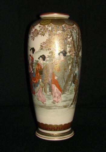 """Large Antique Exceptionally Fine Quality Meiji Japanese Satsuma Vase 8 1/2"""""""