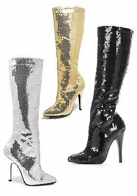Ellie 5 Inch Heel - Ellie Shoes 511-TIN 5 Inch Heel Knee Boot Women's Size Shoe With Sequins