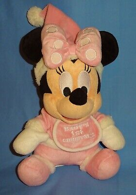"""Disney plush Minnie Mouse Baby's First Christmas-Doll 10"""" Pink-Stocking Stuffer"""
