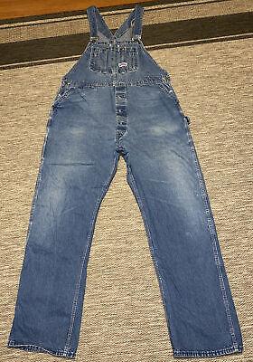 Vintage Overalls & Jumpsuits BIG SMITH Vtg Button Fly USA Dark Med Denim Jeans Overalls, Mens 42 x 34 USA $25.00 AT vintagedancer.com