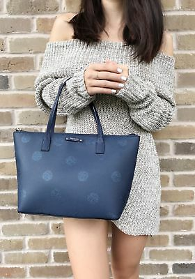 Kate Spade Haven Lane Hani Small Tote Navy Blue Glitter Polka Dots Handbag