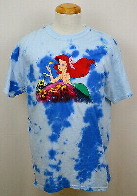 - Little Mermaid T-shirt Disney Ariel Daydreaming Graphic Tee Blotched Blue NWT