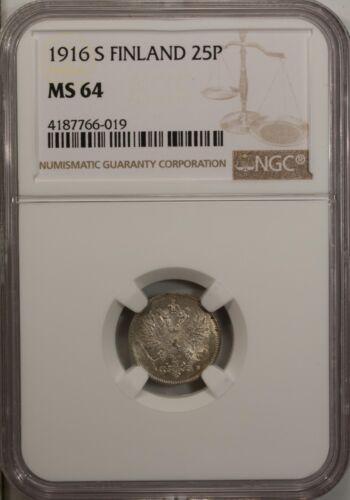 Finland 25 Pennia 1916 S NGC MS 64 UNC  Silver