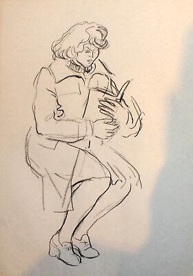 VINTAGE IMPRESSIONIST PORTRAIT PASTEL PAINTING WOMAN WITH BOOK