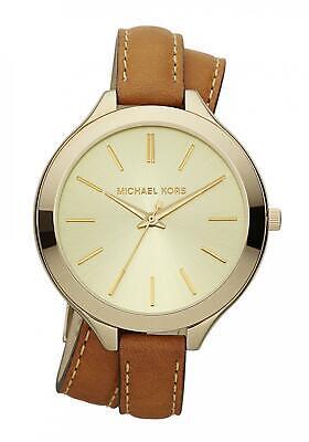 Michael Kors Women's MK2256 Runway Gold Tone Dial Brown Leather Strap Watch