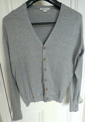 John Smedley Men's Cotton Cardigan. Light Grey. Size Medium.