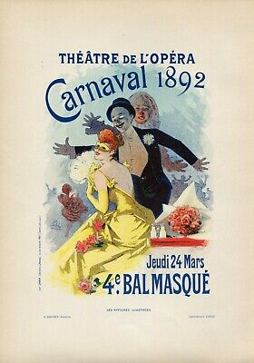 Jules Cheret CARNAVAL 1892 Vintage French Poster Lithograph, Affiches Illustrees
