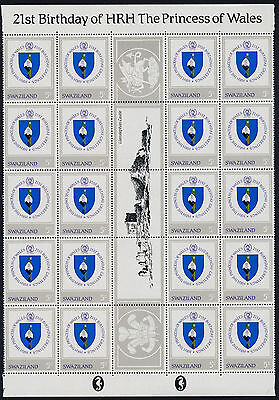 Swaziland 406-9 Gutter strips of 20 MNH Princess Diana 21st Birthday, Crest