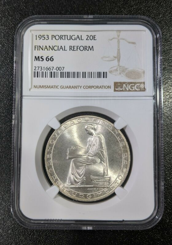 1953 MS66 Portugal Silver 20 Escudos UNC NGC KM 585 Financial Reform