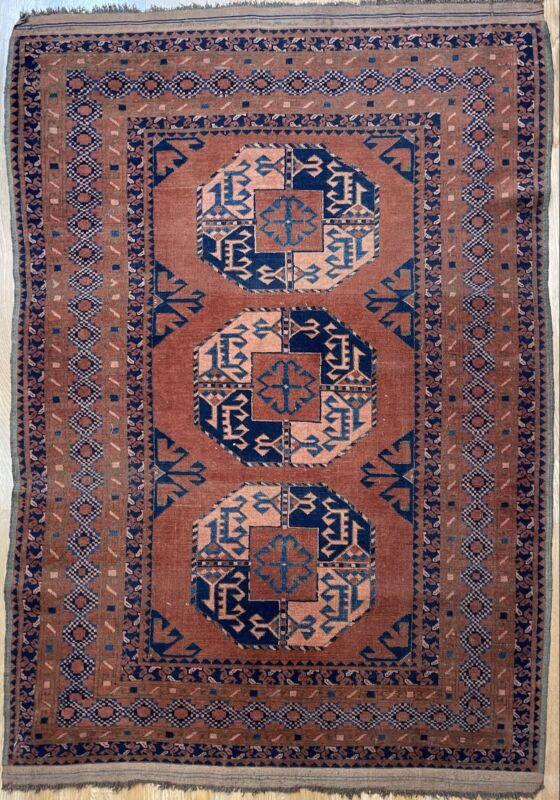 Terrific Turkmen - 1920s Antique Beshir Rug - Tribal Oriental Carpet 4 X 5.8 Ft.
