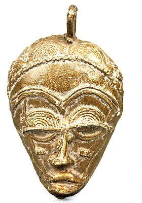 Art African Tribal - Mask Passport Pendant Bronze Baoulé - 7,5 cm