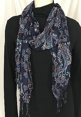 TALBOTS Women's Fashion  Scarf Navy Blue Paisley Pattern New With Tags