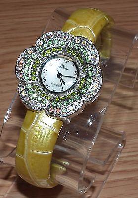 (Genuine Geneva Platinum Edition (6628) Flower Shaped Yellow Bangle Watch *READ*)