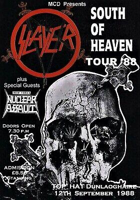 SLAYER / NUCLEAR ASSAULT SOUTH OF HEAVEN TOUR 1988 IRELAND CONCERT POSTER  - $11.99