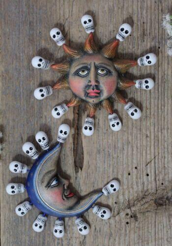 Clay Sun & Moon Day of the Dead Ornaments Skulls Handmade Puebla Mexico Folk Art