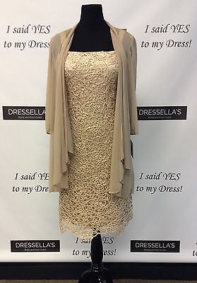 R&M Richards 9655 Gold Mother of the Bride Lace Dress Size 8 &10
