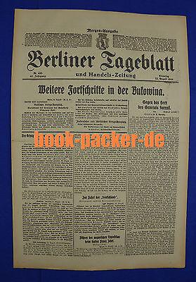 BERLINER TAGEBLATT (22.8.1916): Weitere Fortschritte in der Bukowina