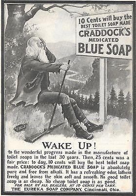 VTG 1905 AD CRADDOCK'S MEDICATED BLUE SOAP, RIP VAN WINKLE TYPE CHARACTER
