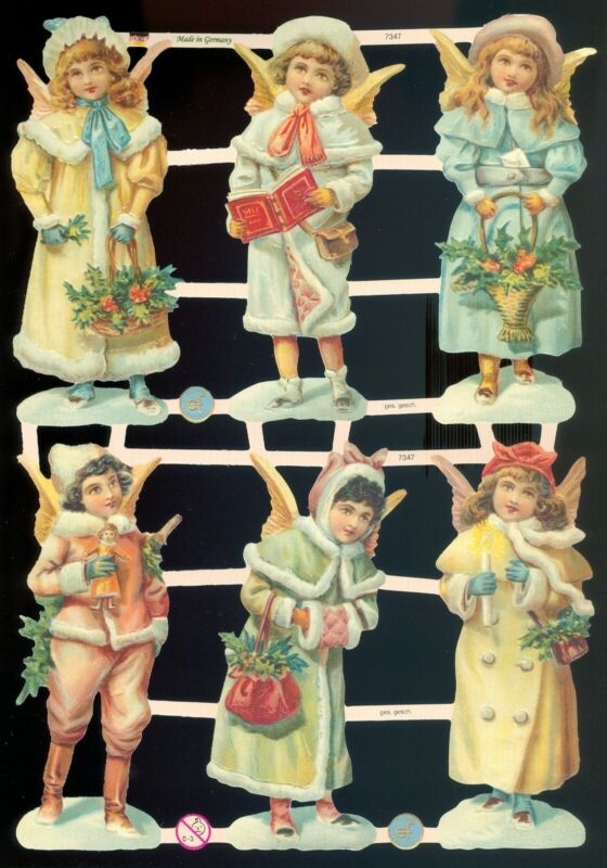 VICTORIAN DIE CUT PAPER SCRAPS ef7347 GERMANY MIXED ANGELS