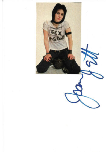 Joan Jett Autogramm signed 10x15 cm Karteikarte mit Magazinbild