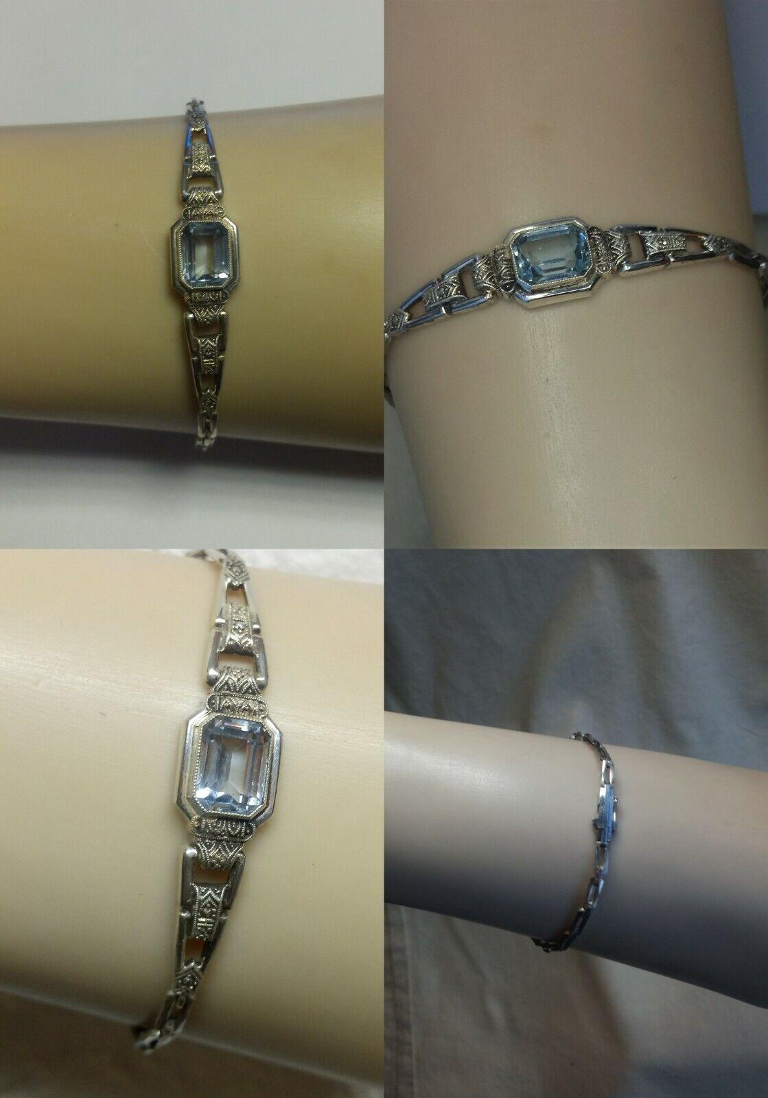 Feines Art Deco Armband Topas 935 Silber 18 cm lang Pforzheim um 193040