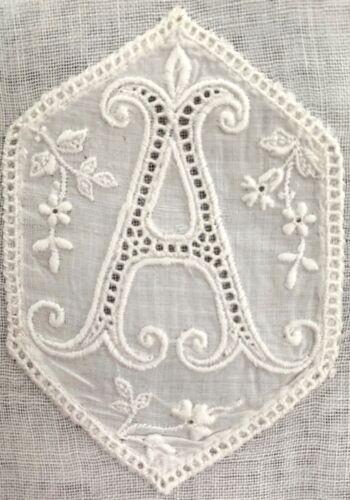 "finest quality antique batiste pillow cover 26x18"" w monogram A on envelope flap"