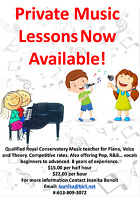Private Music Lessons Now Available