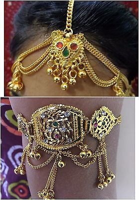 Boho gold maang tikka head piece matha patti armlet bajuban hair jewelry INDIA