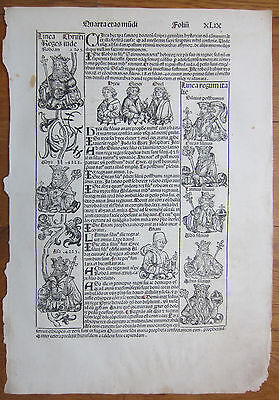 Incunable Leaf Schedel Liber Chronicorum Kings and Prophets - 1493