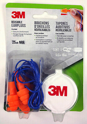 3m Corded Reusable Earplugs 25db Nrr Flange Design 3 Pairs With Case