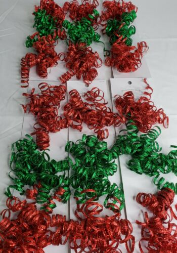 18 Glitter Curly Bows Peel N Stick Red Green Christmas, Gift Baskets, Crafts